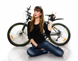 The young girl with bike.