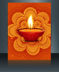 Happy diwali celebration brochure card template reflection vecto
