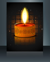 Greeting card diwali reflection colorful brochure template vecto