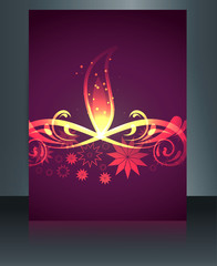 Diwali greeting card brochure template vector