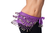 Belly Dancer Wearing a Purple Coin Belt and Shaking her Hips