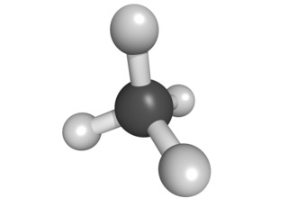 Methane (CH4) gas molecule, molecular model