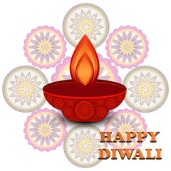Diwali colorful Beautiful rangoli design vector illustration