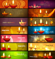 Happy diwali stylish bright colorful collection headers set of v