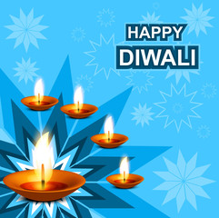 Beautiful diwali greeting card blue colorful vector illustration