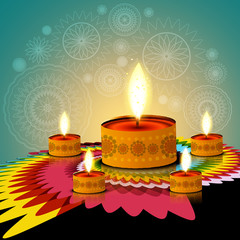 Beautiful rangoli creative diwali lamp background vector