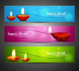 Happy diwali headers set Beautiful religious bright colorful vec