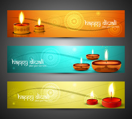 Beautiful religious colorful happy diwali headers set design vec
