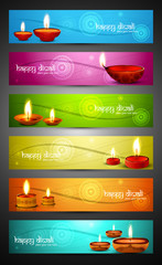 Happy diwali stylish bright colorful set of headers collection v