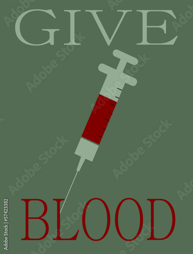 give blood design with needle