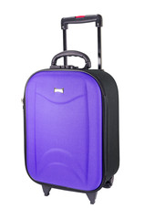 Violet suitcase ,Travel luggage isolated on the white background