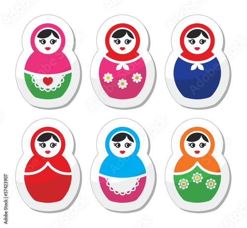 Russian doll, retro babushka vector icons set