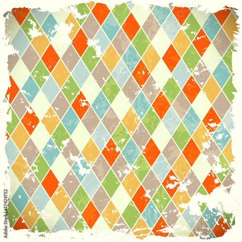 retro background with colorful rhombs