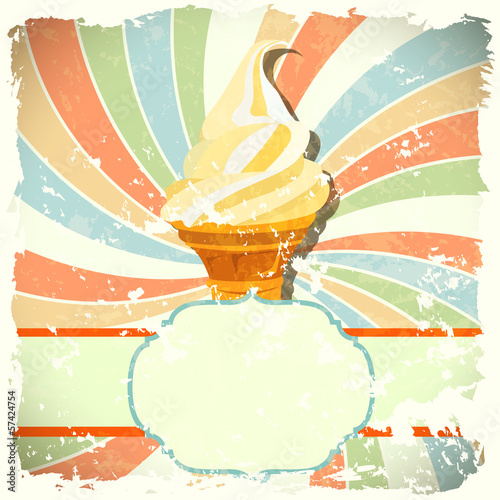 retro background with ice cream and colorful spiral