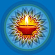 Beautiful card diwali rangoli blue bright colorful celebration b