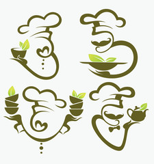 organic cooking symbols, food and chief silhouettes