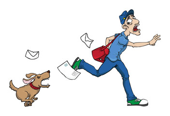 Postman running away from an angry dog