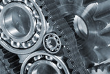 ball-bearings and cogs powered by timing chains