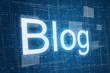 Blog on digital background, internet concept.