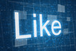 Like on digital background, social media concept.