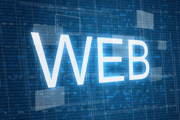 Web on digital background, internet concept .