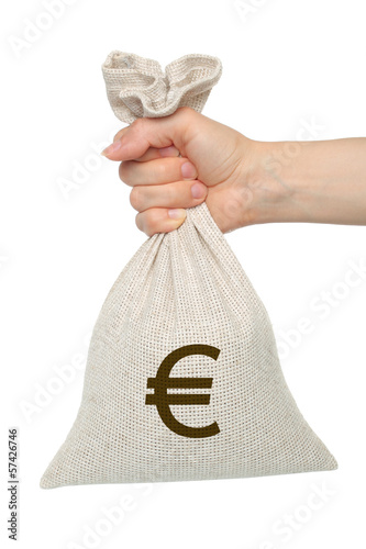 Hand holds bag with money on white background.