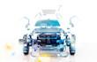 Leinwanddruck Bild - Auto Trasparente, Componenti, progetto 3d, tuning, motori