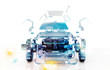 Leinwandbild Motiv Auto Trasparente, Componenti, progetto 3d, tuning, motori