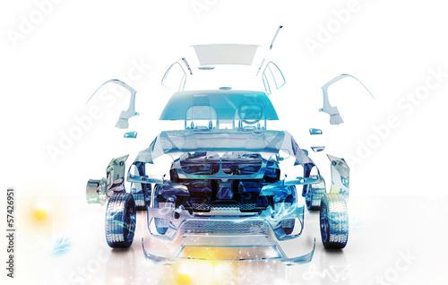 Leinwanddruck Bild Auto Trasparente, Componenti, progetto 3d, tuning, motori