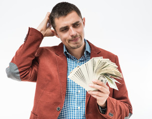 Upset man with money in hand