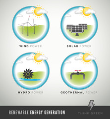 Renewable Energy Generation icons and symbols