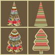 Set of abstract Christmas trees