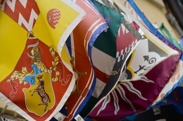 Le bandiere della contrada di Siena