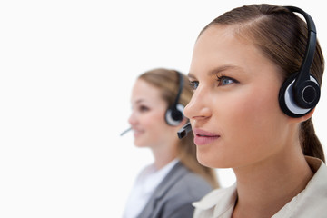 Gorgeous operators using headsets
