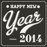 Retro Happy New Year 2014 Blackboard Sign