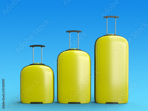 Yellow suitcases, against blue background, 3D render.