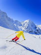 Skiing, skier, winter sport - woman skiing downhill