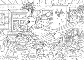 Magpie cooking porridge in her kitchen