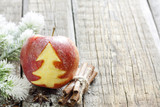 Abstract christmas apple with green tree on vintage boards
