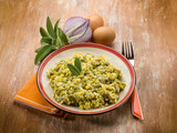 scrambled eggs with sage and onions