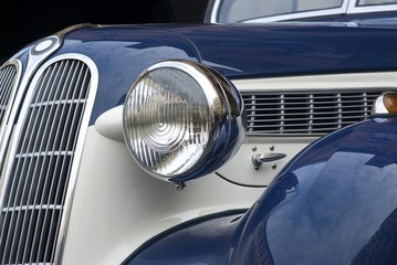 Close up detail of a classic vintage car