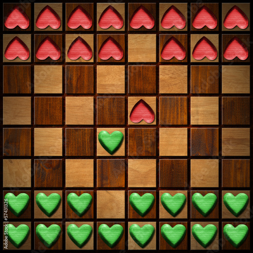 Chess Board with Wooden Hearts