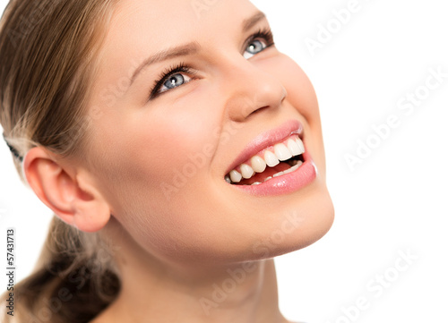 Teeth whitening. Dental care. Woman smiling.