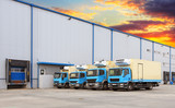 Transport Trucks Docking in warehouse