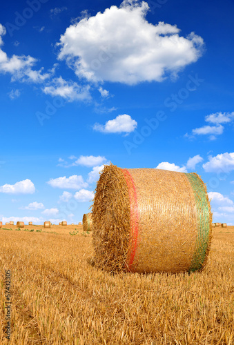 Straw bales with blue sky