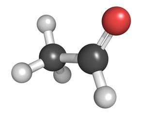 Acetaldehyde (ethanal) molecule, chemical structure. Acetaldehyd