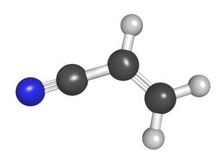 Acrylonitrile molecule ball and stick model