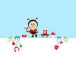 Birthday Card Ladybug Bouquet & Symbols Blue