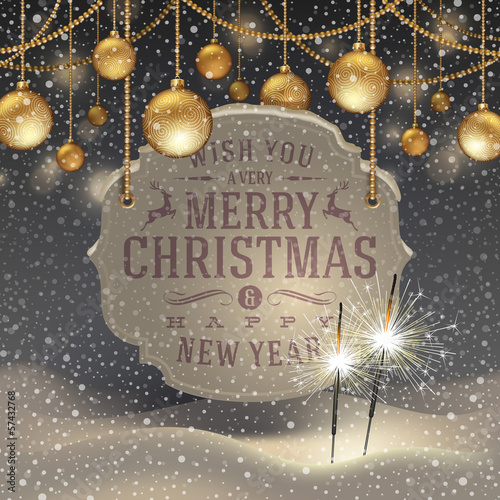 Christmas decoration and banner with holidays greeting