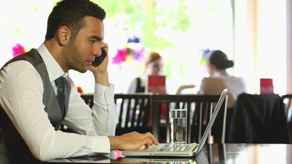 Businessman working on his laptop in a restaurant